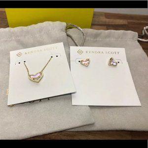 KS Ari Heart Necklace Earrings Dichroic Glass NWT